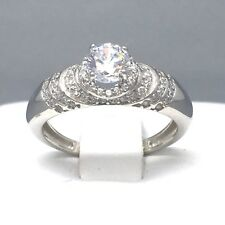 """STERLING SILVER CUBIC ZIRCON *RIPPLE ENGAGEMENT* WEDDING RING SIZE """"O""""  1884A"""