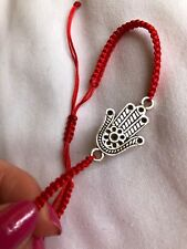 Silver Hand Of Fatima  Kabbalah Red cord Lucky Bracelet Protection Evil Eye