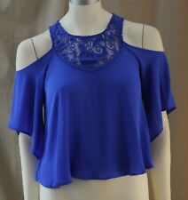 Decree, Small, Dazzling Blue Open Shoulder Top, New with Tags
