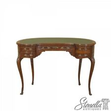 L43212: French Style Kidney Shaped Mahogany Leather Top Writing Desk ~ NEW