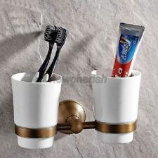 Antique Brass Wall Mounted Bathroom Toothbrush Holder with Two Ceramic Cups