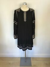 MONSOON BLACK EMBROIDERED & GOLD SEQUIN TRIM LONG SLEEVE SHIFT DRESS SIZE 10