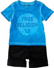 NEW TRUE RELIGION BABY BOYS BLUE LOGO TEE T-SHIRT WITH SHORTS 2PC GIFT SET 12M
