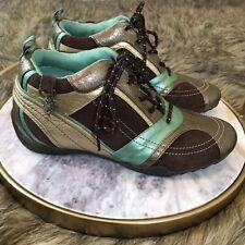 Gjili Sz 8 M  Brown Gold & Mint Charms Active Sneaker Hidden Heel Lift