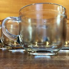 Set/Lot: 6 Vtg 4 oz CUP Punch Bowl MUG Clear Pressed Striated Thick Plain Glass