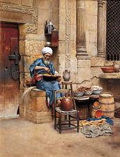 Oil painting Ludwig Deutsch - The Street Merchant elder Arab portrait on canvas