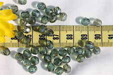 Czech Firepolish Bead 6mm WR49- Crystal /Green Marble 50pc