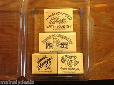 Stampin Up Rubber Stamp Set of 4 Hand Stamped 1997 Mounted NEW