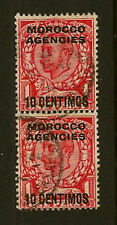 MOROCCO AGENCIES : 1912 10 centimos on 1d 'No Cross on Crown' SG 127/a pair used