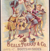 Beals Torrey Shoe Milwaukee 1800's Vintage Elf old Victorian Fantasy Trade Card