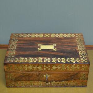 Striking Regency Rosewood & Brass Inlaid Antique Box