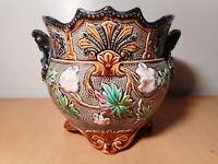 Coupe ancienne cache pot ancien faience barbotine ceramique nord France