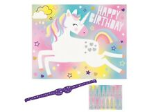 """""""UNICORN"""" PIN THE HORN Happy Birthday Party GAME For 16 People Fairytale"""