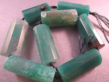 Green Vein Agate Faceted Rectangle Beads 8pcs