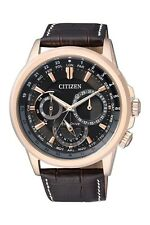 Citizen Eco-Drive BU2023-12E leather band rose gold Men's Watch RRP $599.00