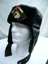 New Black Faux Leather Bomber Aviator Russian Winter Earflap Hat Trapper Trooper