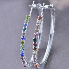 Around Multicolor CZ 9K White Gold Filled Women's Hoop Earrings New F5897