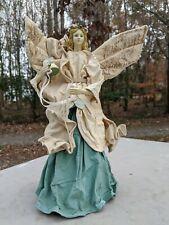 "Renaissance CHRISTMAS Angel Paper Mache Tree Topper Ornament Figurine 12"""