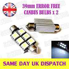 6 LED SMD 39mm C5W 239  Number Plate Error Free Canbus Bulbs HID White (Pair)