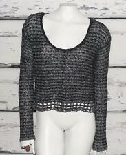 FREE PEOPLE~HEATHERED BLACK~SCOOP-NECK~CROCHET KNIT~SLOUCHY CROP SWEATER~S