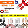 Braided USB Lightning Cable Cord for Apple Charger iPhone iPad XR XS 6 X 8 7 5S