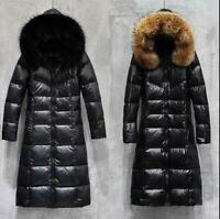 Womens Long Parka Down Slim Thick Jacket Hooded Fur Collar Winter Coat Warm Hot