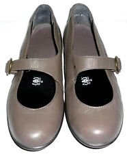 EASY B taupe leather Mary Jane smart flat shoes comfortably fit UK 5.5 E