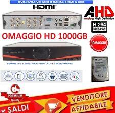 DVR 8 CANALI AHD H264 HDMI CLOUD VIDEOSORVEGLIANZA IBRIDO CON HD DA 1000GB TVCC