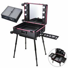 Rolling Cosmetic Make Up Case Train Table Box Storage Trolley LED Vanity Mirror