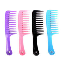 Hairdressing Salon Plastic anti-static handle wide Tooth Hair Comb Detangling^