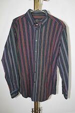 BUGATCHI UOMO~Men's Size L~Rainbow~Striped~Casual Button Front Shirt~Red~Black