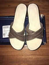 Lands End Leather Comfort Wedge Slide Sandal Women's size 6 NIB