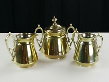 Simpson Hall Miller Gold Plate Creamer Spoon Sugar Set, Antique Quadruple Silver