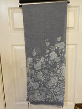 NWT Talbots 100% Cotton Scarf Wrap Shawl Light Blue Floral Pattern
