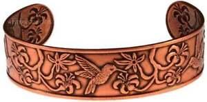 Solid Copper Bracelet Hummingbird Handmade Jewelry Gift Cuff Arthritis Relief