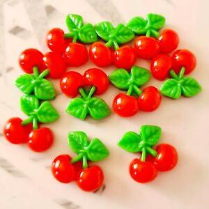 Pack of 10 Red Summer Cherry Fruit Flatbacks, Resins Bow Making, Embellishments