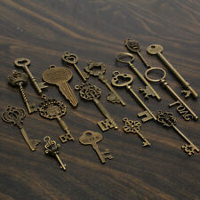 18pcs Antique Vintage Old Look Skeleton Key Lot Pendant Heart Bow Lock