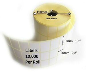 "Self Adhesive Thermal Transfer Sticky Address Printer Labels 32x20mm1.3""x0.8"""