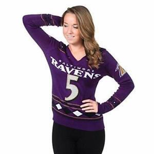 Klew NFL Women's Baltimore Ravens Joe Flacco #5 Big Logo Glitter Player Sweater