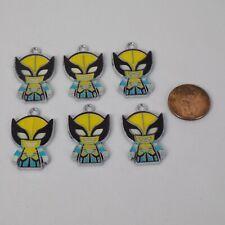 "Marvel Wolverine Enamel Charm Sets Yellow Jewelry Scrapbook 1 1/4"" tall"
