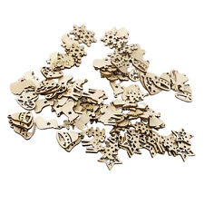 100 Pieces Wooden Snowflake Snowman Christmas Tree Ornaments Hanging Pendant