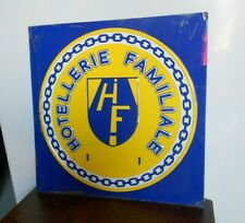 French Vintage tole aluminum Plaque Sign  : FAMILY HOTEL
