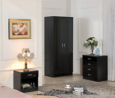 black bedroom furniture. ossotto high gloss black bedroom furniture set wardrobe chest bedside furniture m