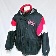 VTG Chicago Bulls Starter Jacket Parka NBA Cement Coat 90s Ski Quilted Hooded XL
