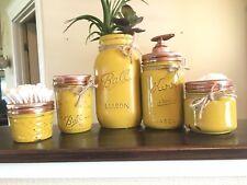 5 Piece Mason Jar Bathroom canister set mustard yellow