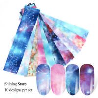 10pcs Nail Art Foils Transfer Stickers Decal Holographic Flower Starry Paper