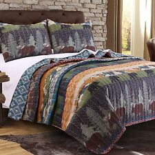 Queen Quilt Set Bear Moose Lodge Wilderness Cabin Quilted Coverlet