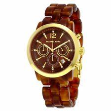 MK6238 Audrina Chronograph Brown Amber Acetate Ladies Watch NWT.