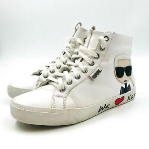 Karl Lagerfeld White Leather We Love KARL Sneakers Size EUR 38 UK 5 US 7