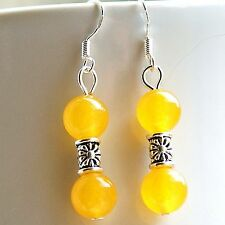 Yellow Gemstone Earrings with Sterling Silver Hooks Topaz New Handmade LB277